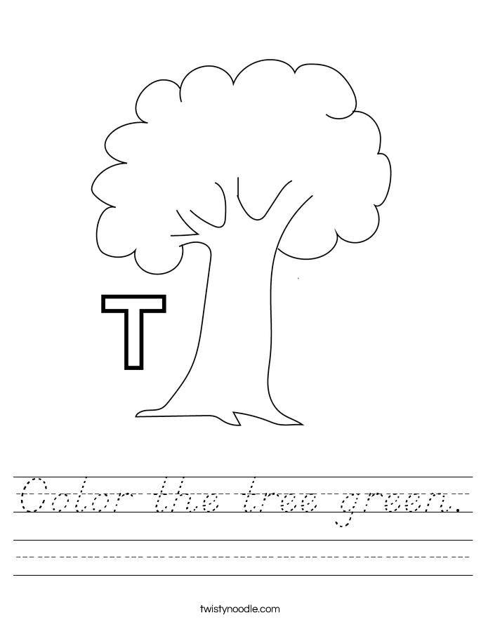 Color the tree green. Worksheet