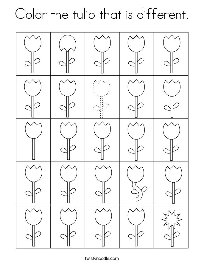 Color the tulip that is different. Coloring Page
