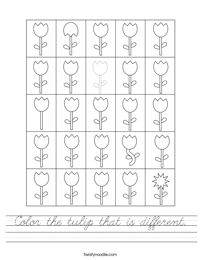 Color the tulip that is different. Worksheet