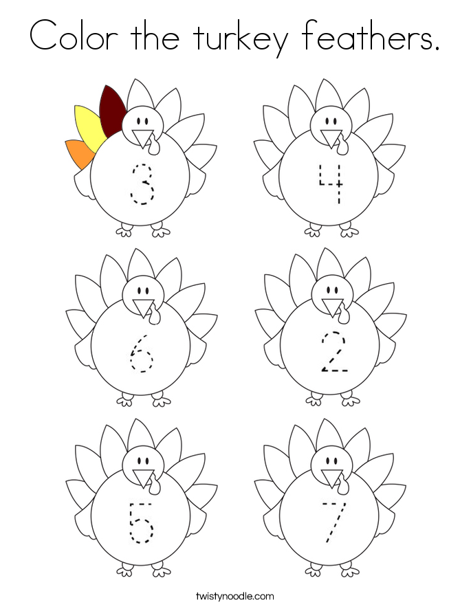 Color the turkey feathers. Coloring Page