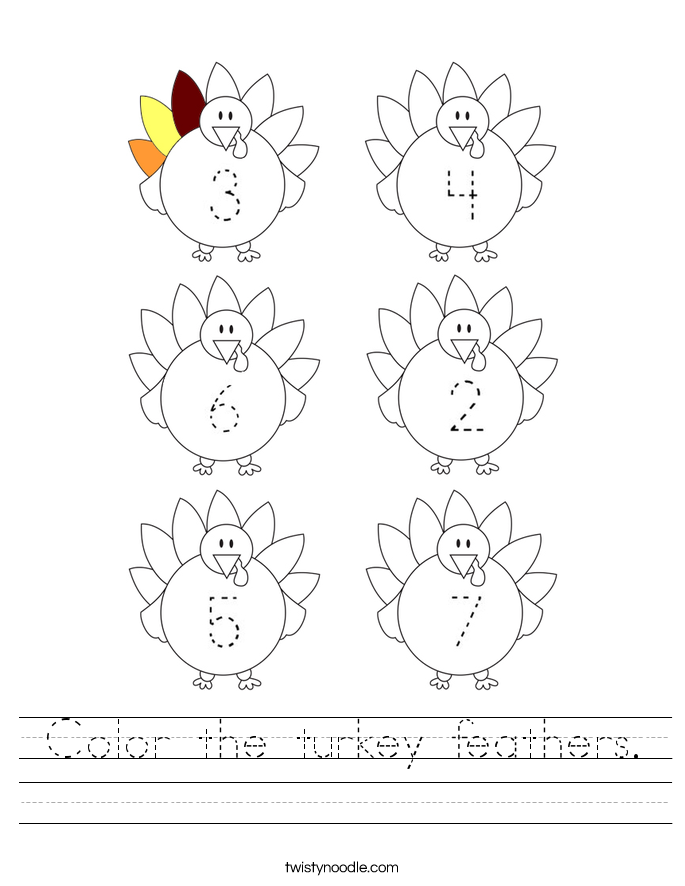 Color The Turkey Feathers Worksheet Twisty Noodle