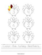 Color the turkey feathers Handwriting Sheet