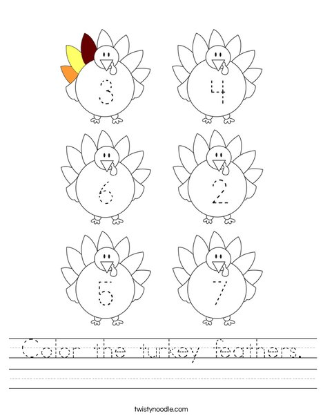 Color the turkey feathers. Worksheet
