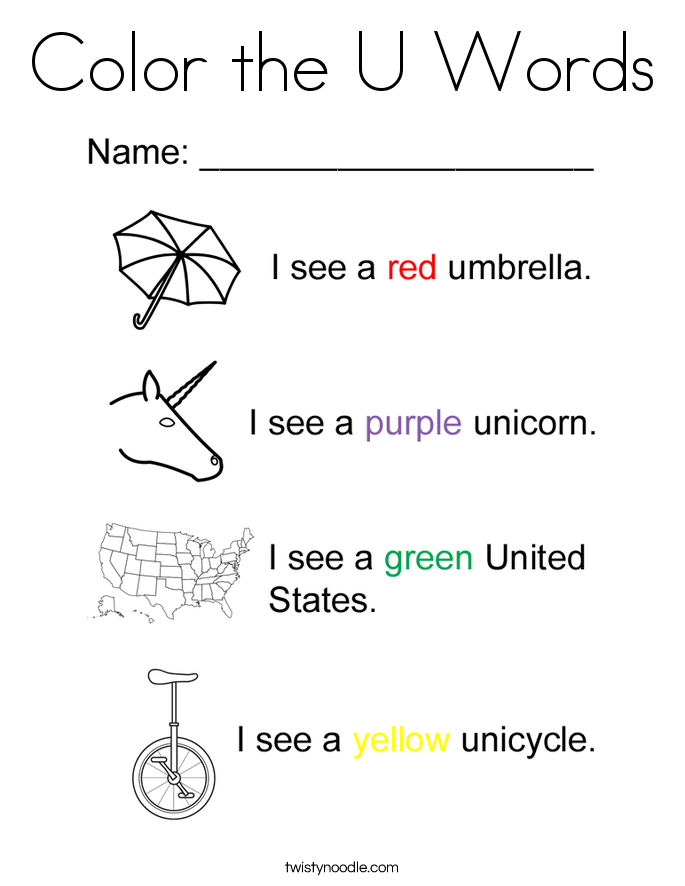 Color the U Words Coloring Page