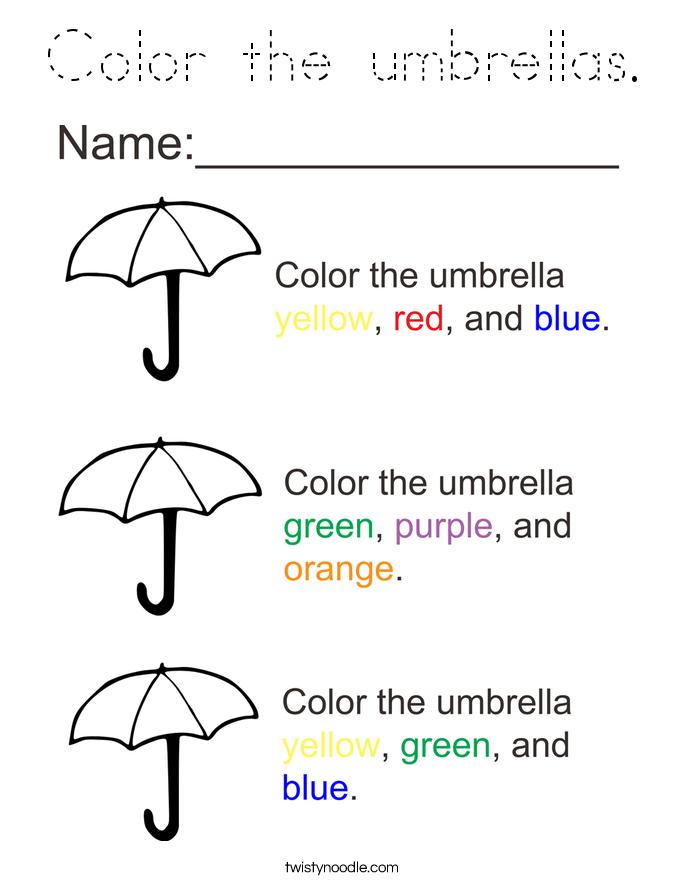 Color the umbrellas. Coloring Page