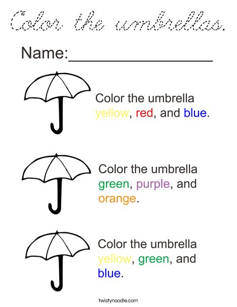 Color the Umbrellas Coloring Page
