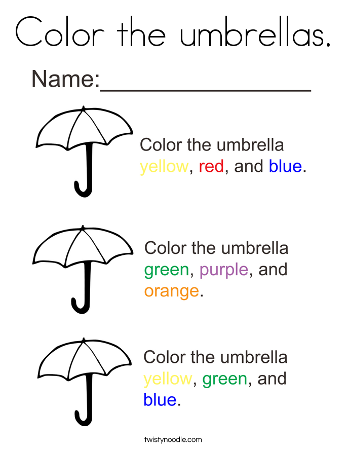 Color the umbrellas. Coloring Page