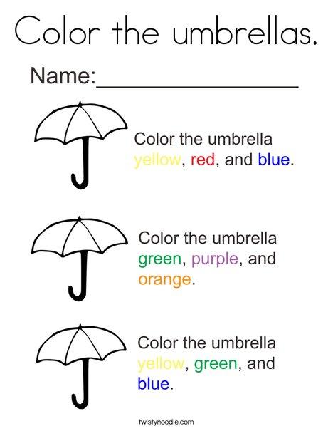 Color The Umbrellas Coloring Page Twisty Noodle