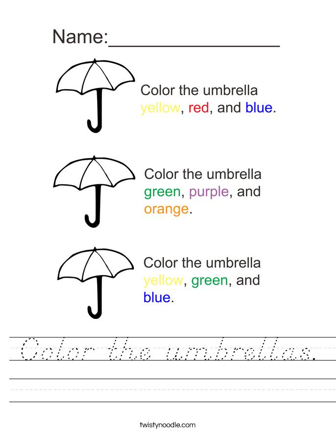 Color the umbrellas. Worksheet