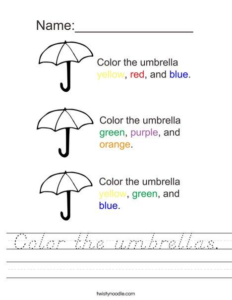 Color the Umbrellas Worksheet