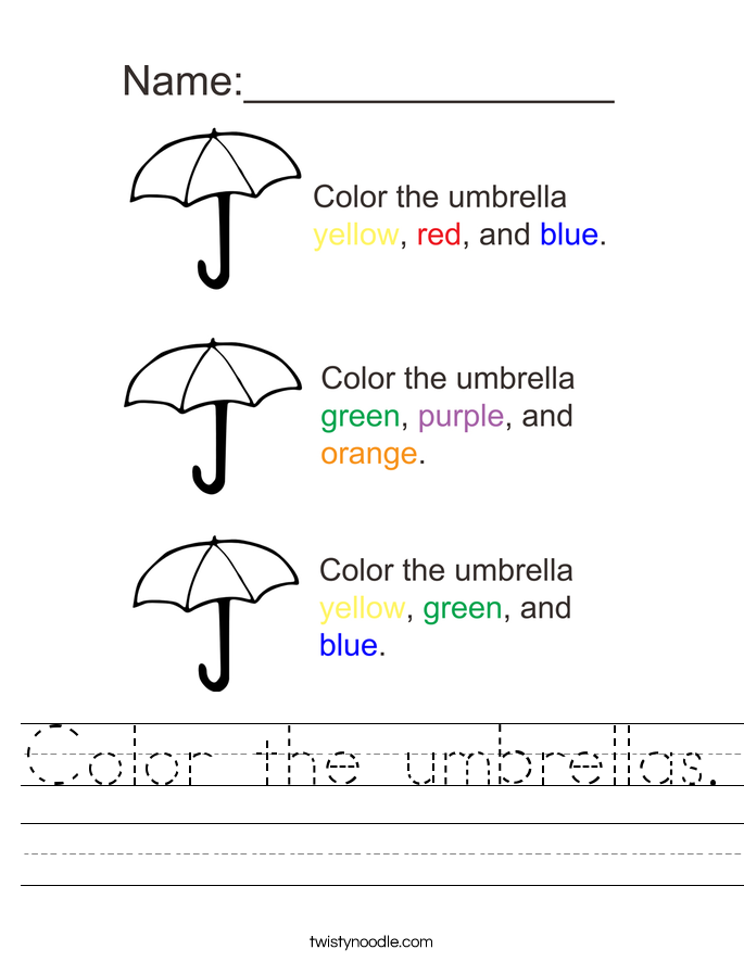 Color the umbrellas. Worksheet