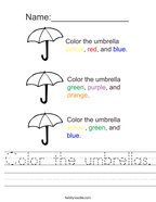 Color the umbrellas Handwriting Sheet