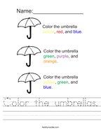 Color the umbrellas Handwriting Sheet