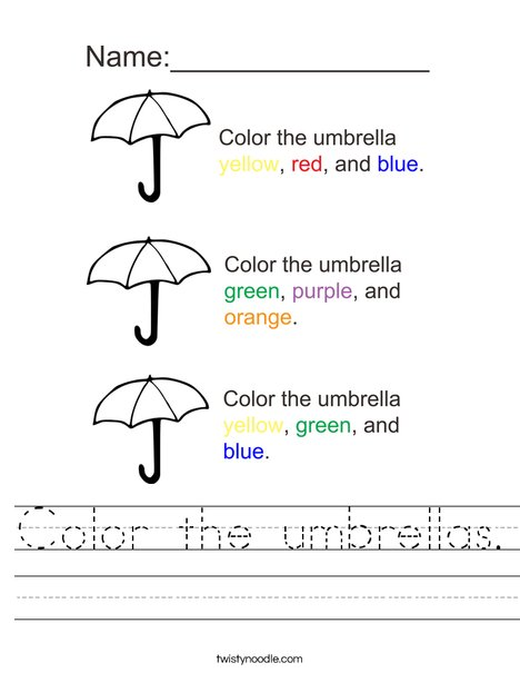 Color the Umbrellas Worksheet