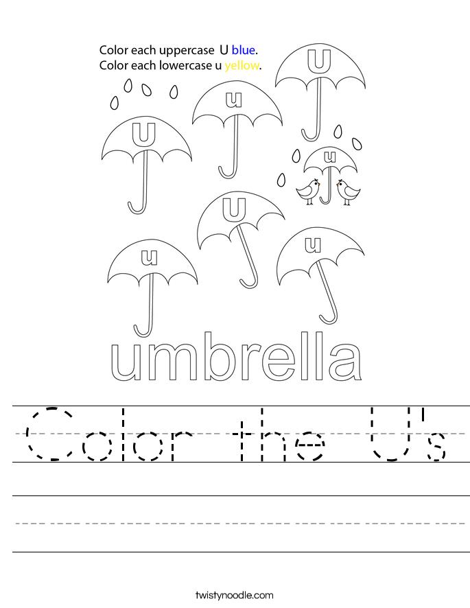 Color the U's Worksheet