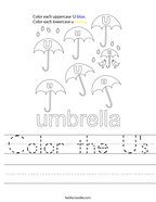 Color the U's Handwriting Sheet