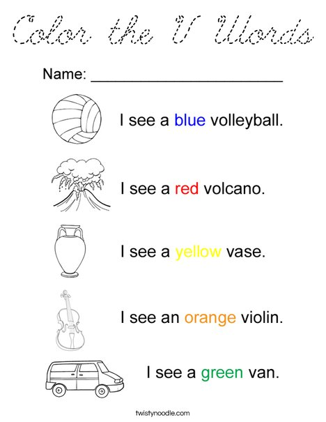 Color the V Words Coloring Page