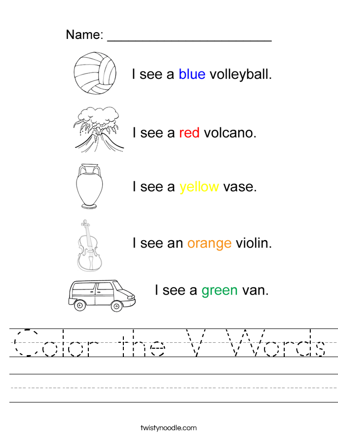 Color the V Words Worksheet