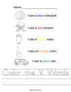Color the V Words Handwriting Sheet