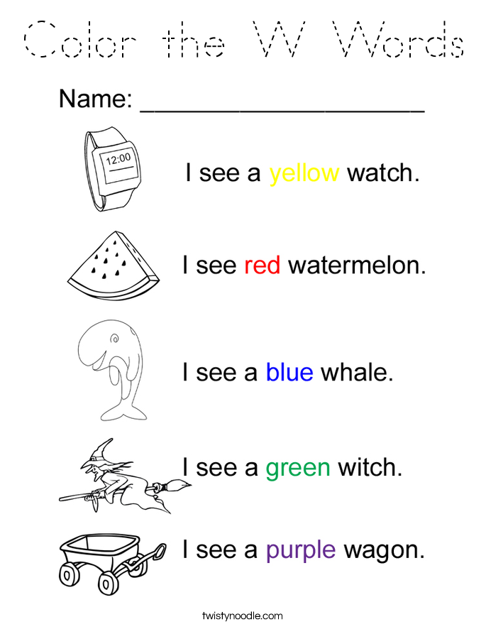 Color the W Words Coloring Page