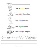 Color the W Words Handwriting Sheet
