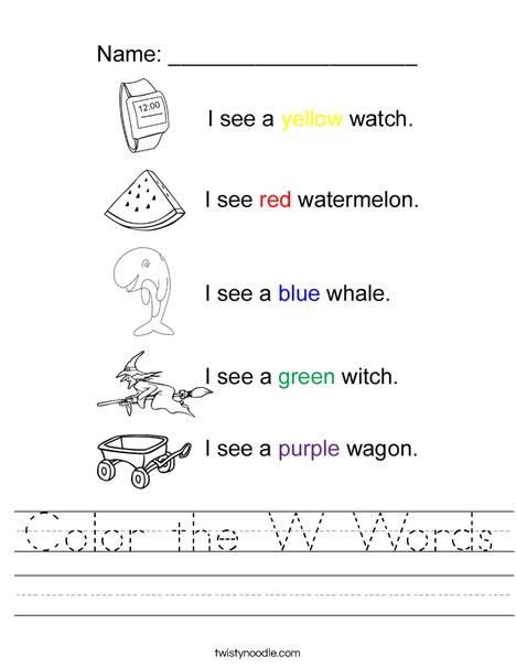 Color the W Words Worksheet