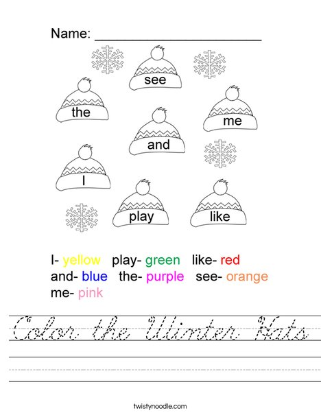 Color the Winter Hats Worksheet