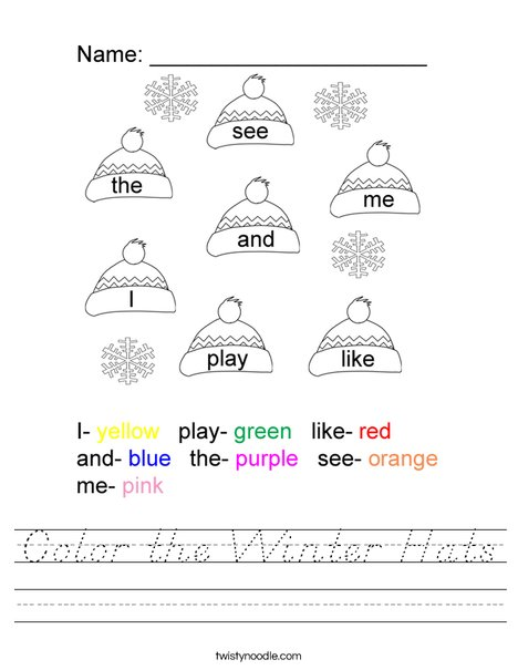 Color the Winter Hats Worksheet
