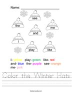 Color the Winter Hats Handwriting Sheet