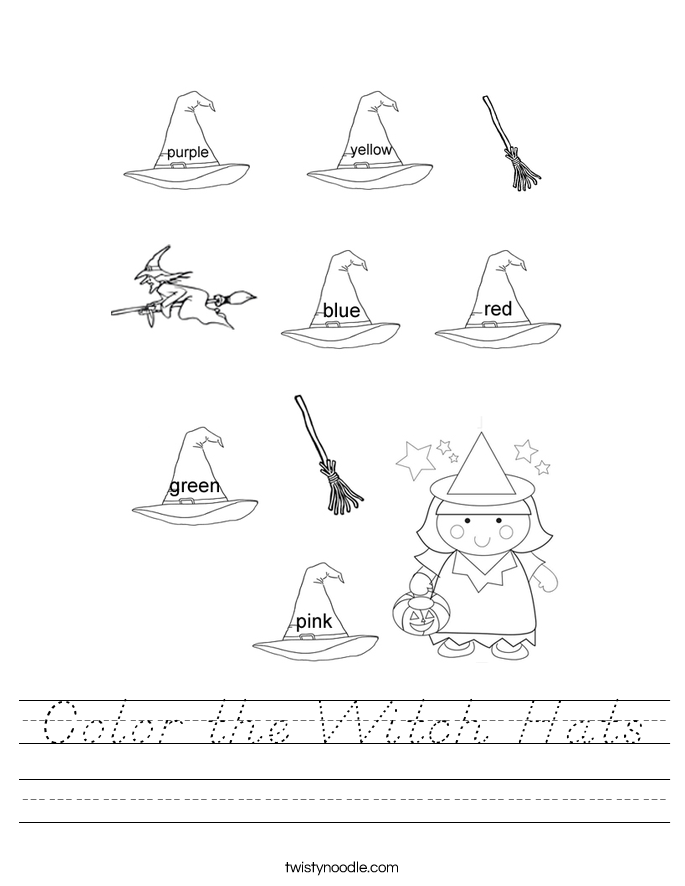Color the Witch Hats Worksheet