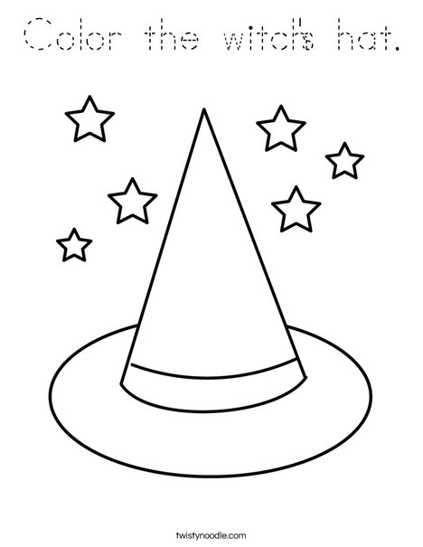 Color the witch's hat. Coloring Page