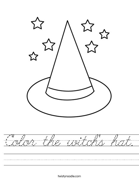 Color the witch's hat. Worksheet