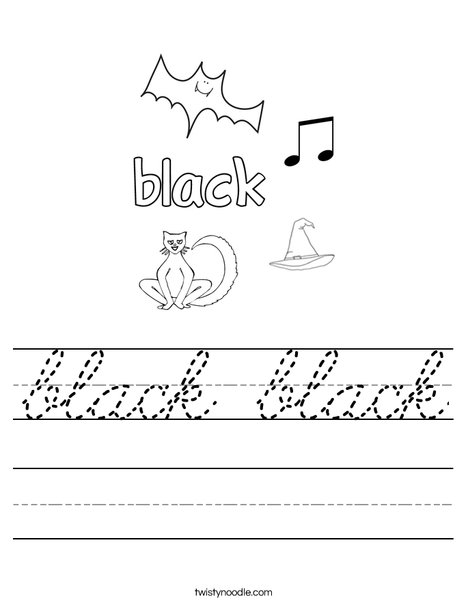 black black Worksheet - Cursive - Twisty Noodle