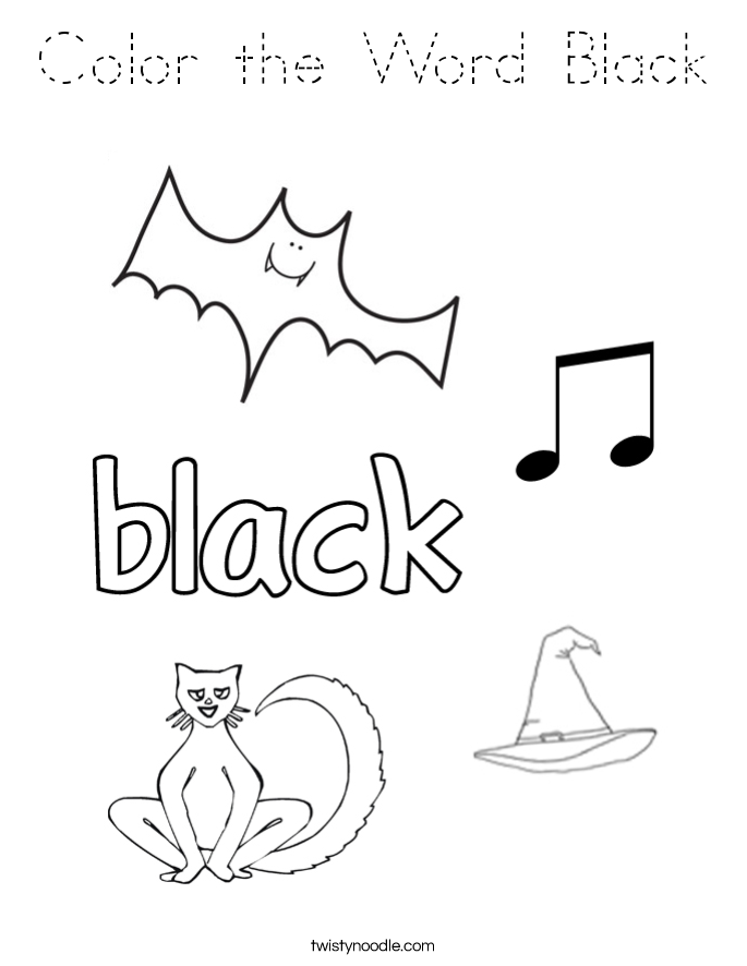 Color the Word Black Coloring Page - Tracing - Twisty Noodle