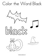 Color the Word Black Coloring Page