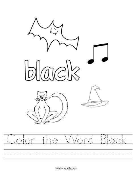 Color the Word Black Worksheet