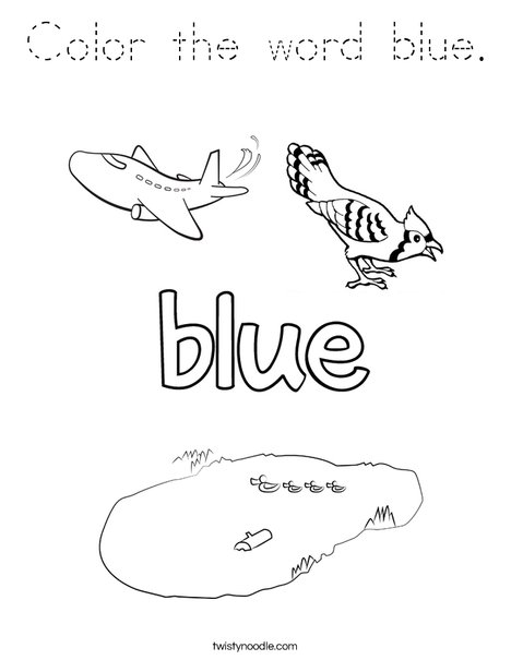 color blue coloring pages   Color the word blue Coloring Page - Tracing - Twisty Noodle