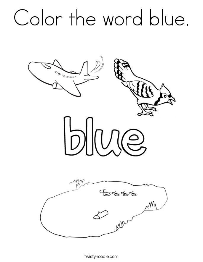 Color the word blue coloring page twisty noodle for Color word coloring pages