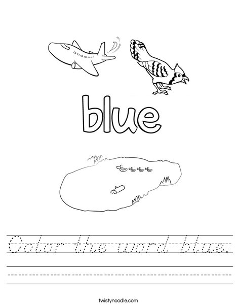 Color the word blue. Worksheet