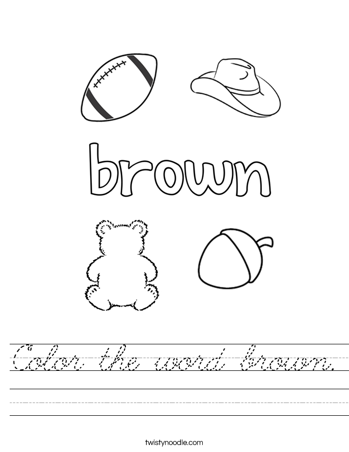 Color the word brown Worksheet - Cursive - Twisty Noodle