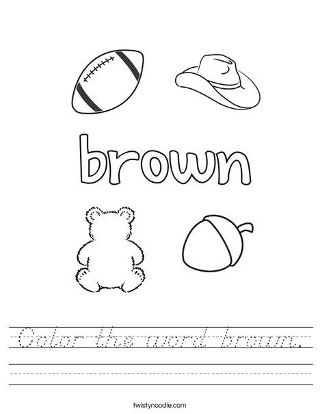 Color the word brown. Worksheet