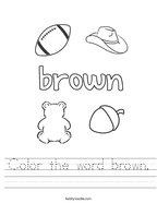 Color the word brown Handwriting Sheet