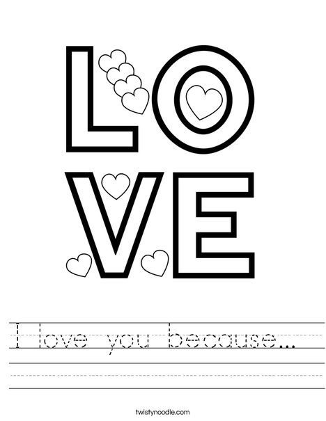 Color the word love. Worksheet