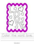 Color the word love Handwriting Sheet