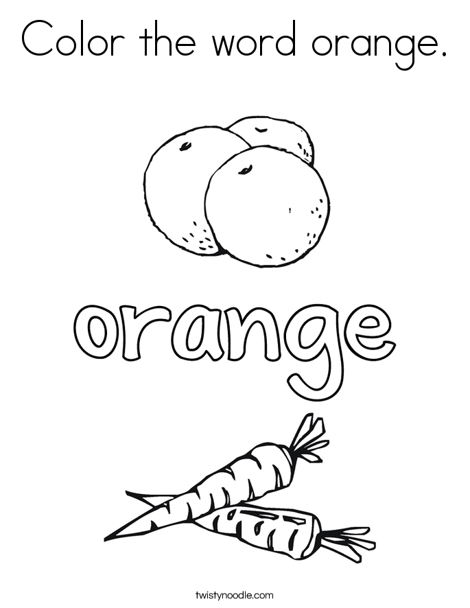 Color orange coloring pages murderthestout for Twisty noodle coloring pages