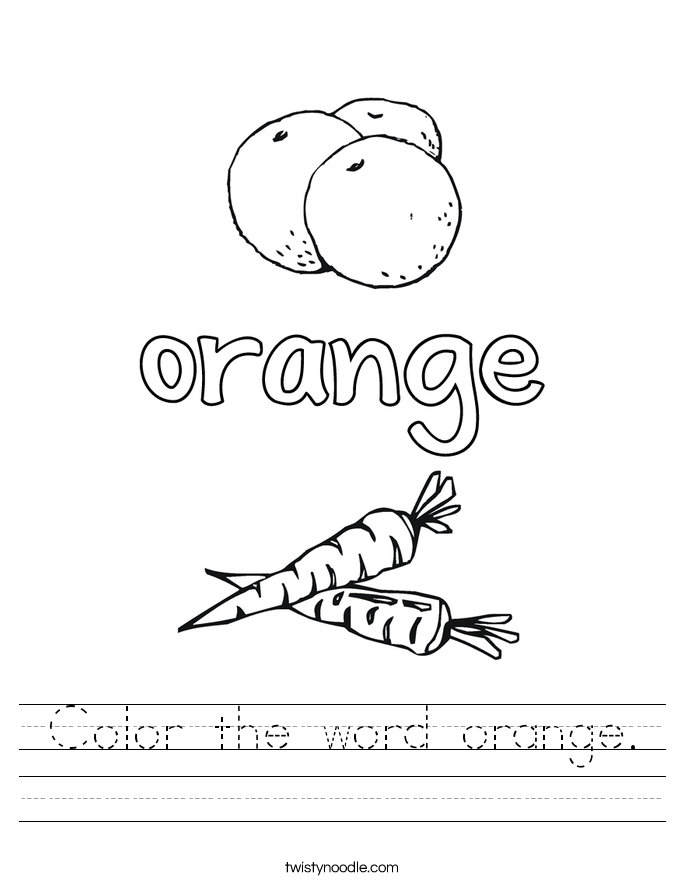 Color the word orange. Worksheet