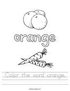 Color the word orange Handwriting Sheet