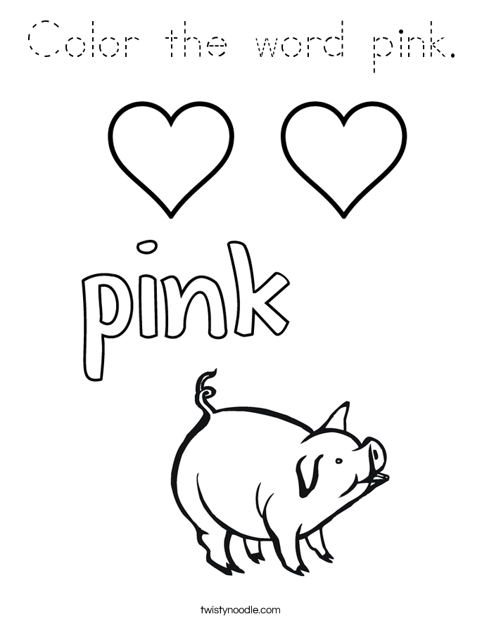 Color the word pink coloring page tracing twisty noodle for Color word coloring pages