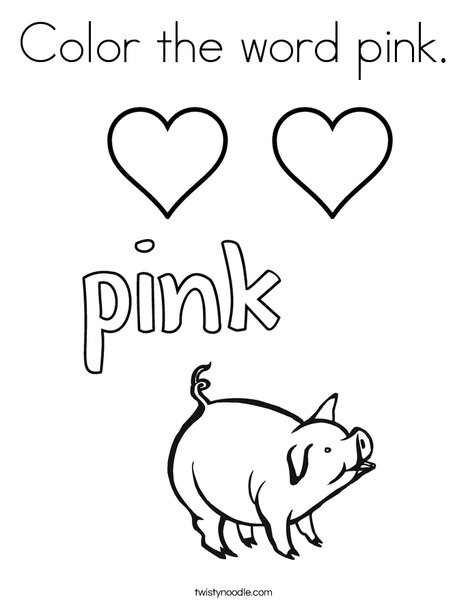 Color the word pink Coloring Page - Twisty Noodle