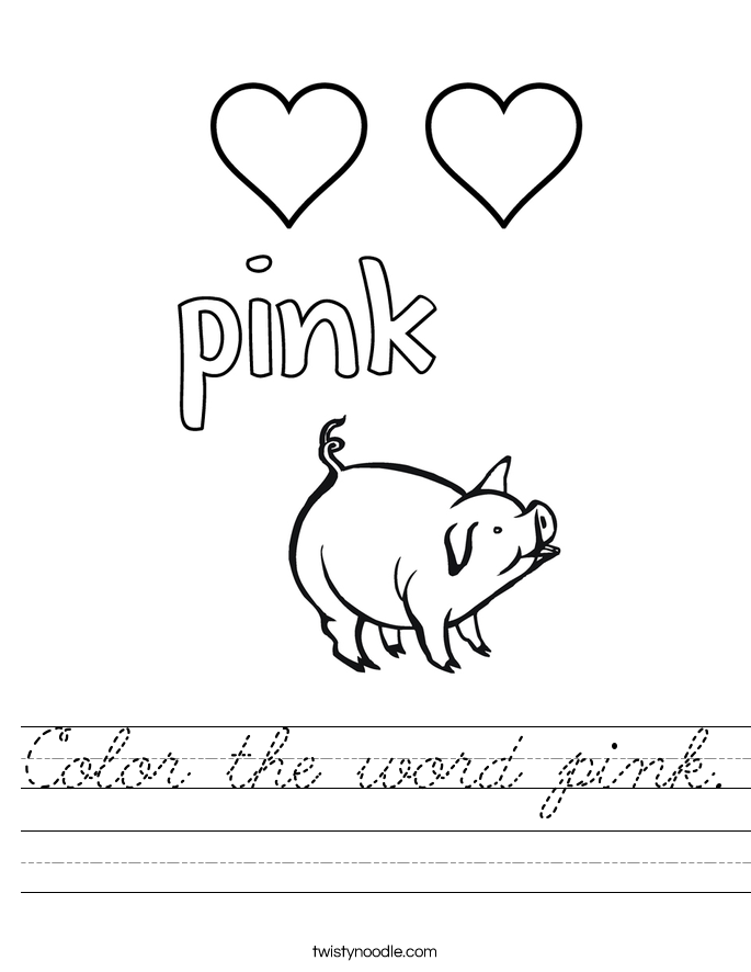 Color the word pink. Worksheet